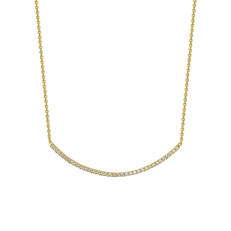 BENDED CZ BAR NECKLACE