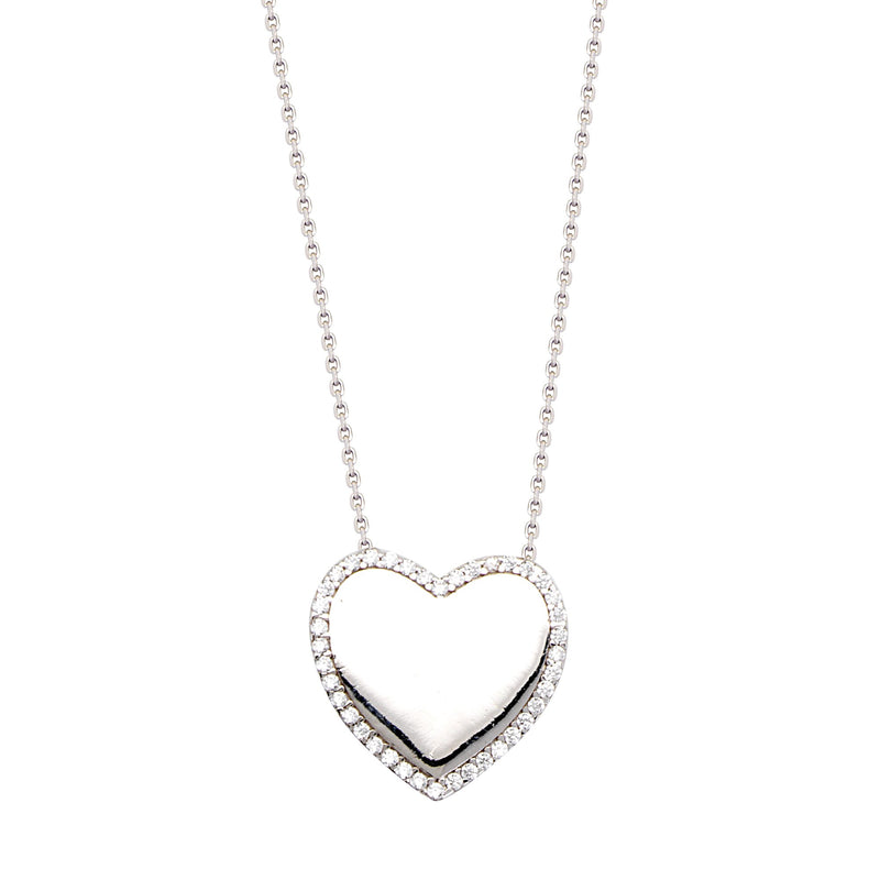 HIGH POLISHED HEART + CZ NECKLACE