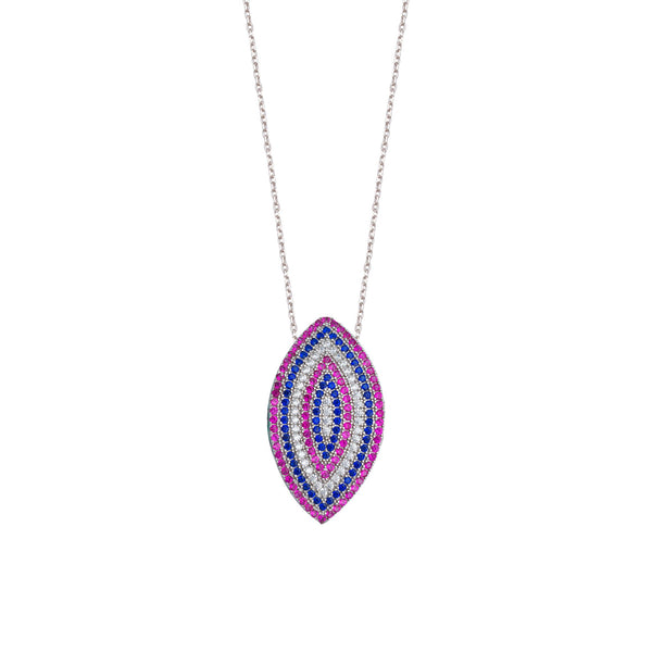 WHITE, PINK AND BLUE CZ MARQUIS NECKLACE
