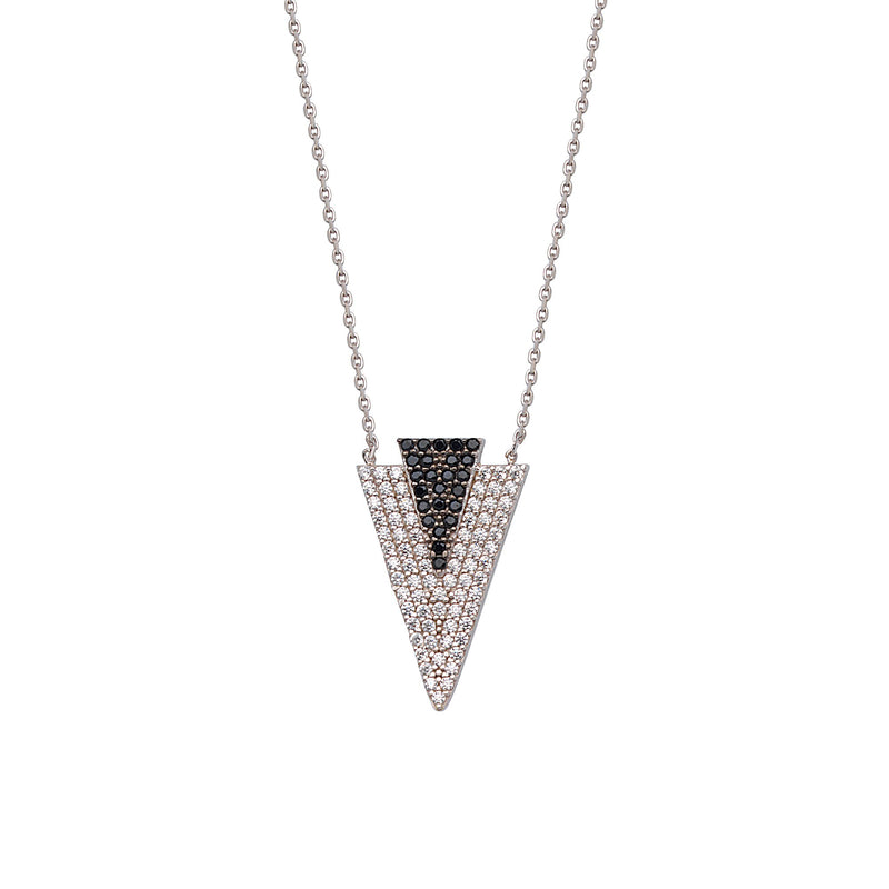 CZ DOUBLE TRIANGLE NECKLACE