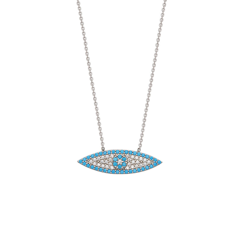 ELONGATED CZ EVIL EYE NECKLACE