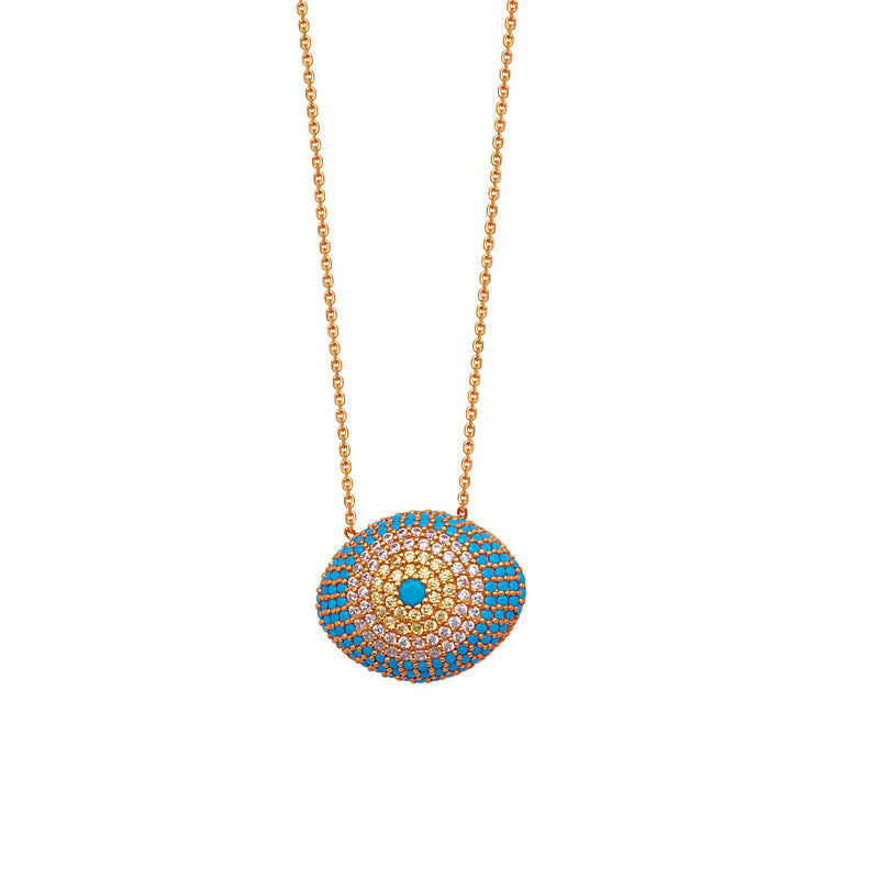 CZ/TURQUOISE  PUFFED EVIL EYE NECKLACE