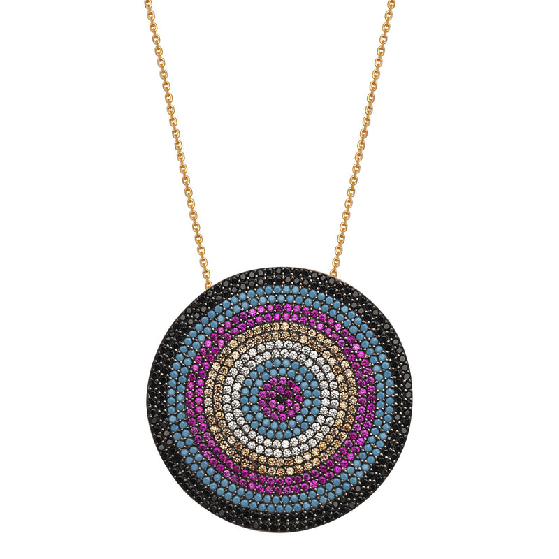 RAINBOW COLORED LRG CZ DISK NECKLACE
