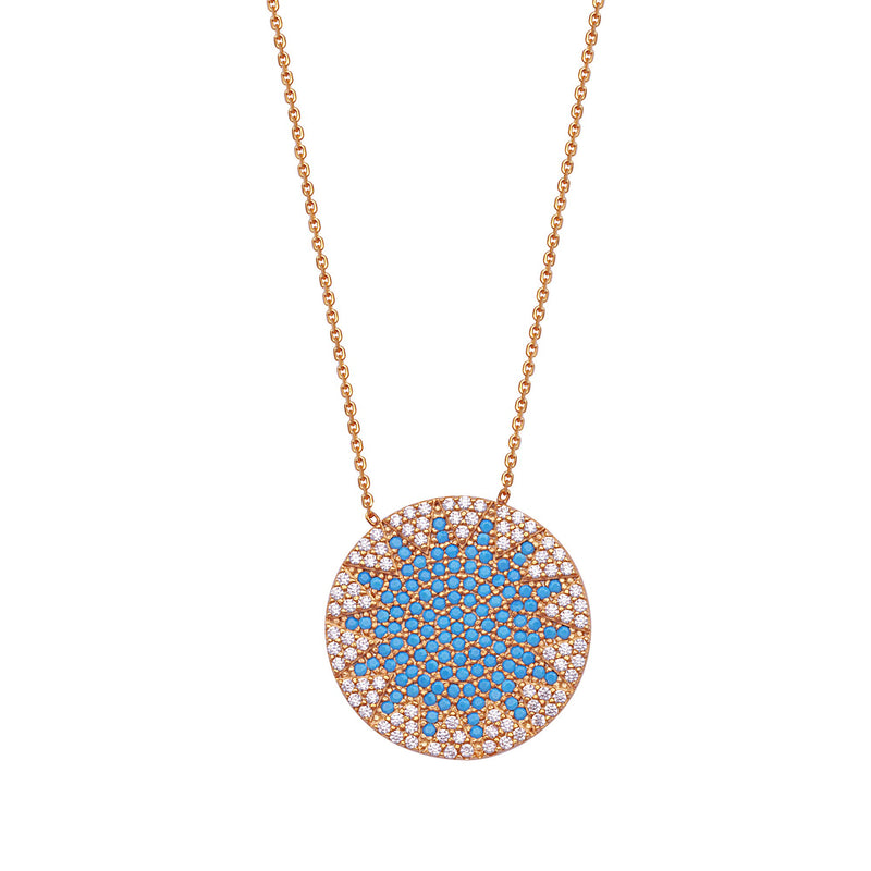 CZ/TURQ DISK NECKLACE