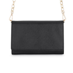 Carly Black Leather Purse Clutch With Gold Chain Crossbody