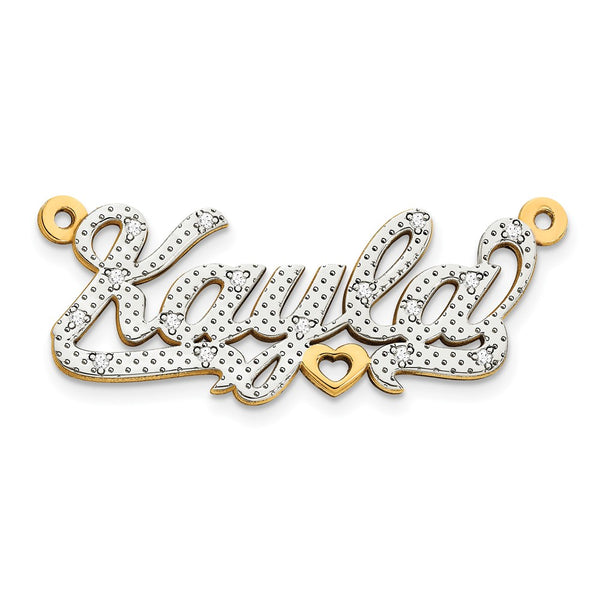 10k & Rhodium 3-Dimensional Diamond Name Plate Pendant