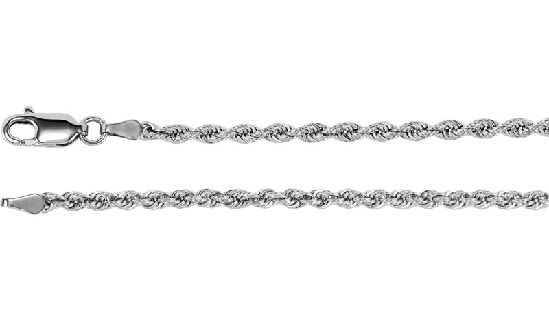 "14K White 2.5 mm Rope 7"" Chain"