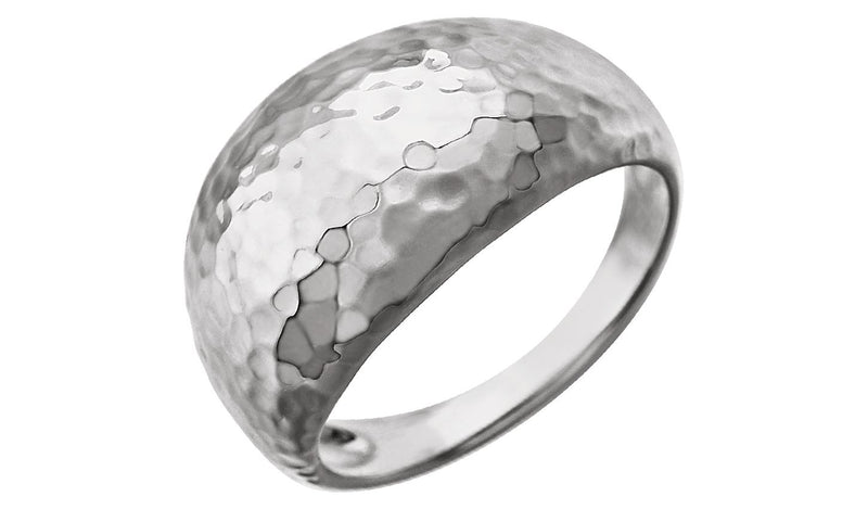 14K White 12 mm Hammered Dome Ring - THE LUSTRO HUT