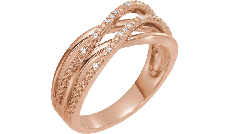 14K Rose .06 CTW Diamond Criss-Cross Ring