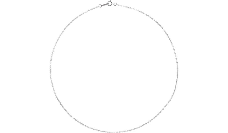 "18K White 1.3 mm Cable 16"" Chain"