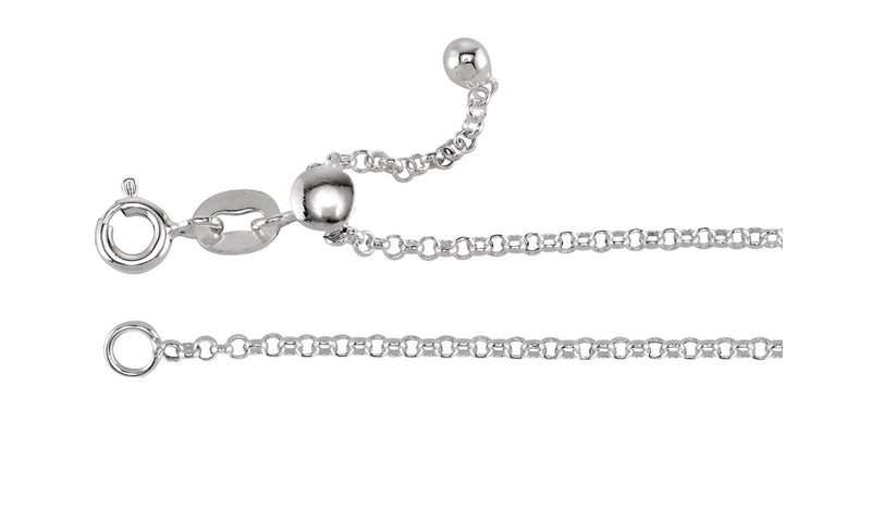 1.5 mm Sterling Silver Adjustable Rolo Chain