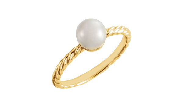 14K Yellow 5.5-6 mm Freshwater Cultured Pearl Ring