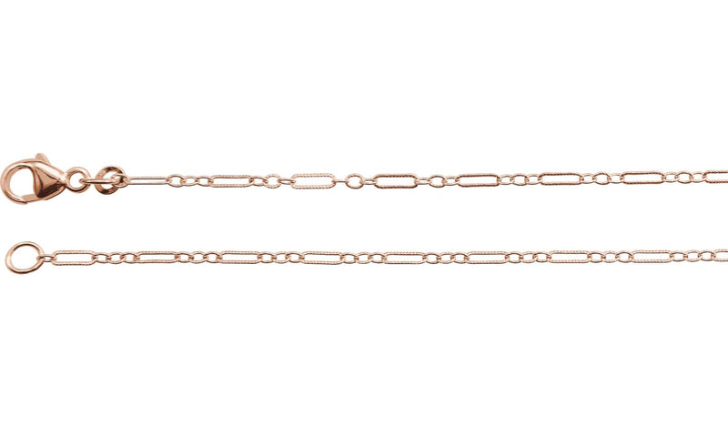 "14K Rose 1.6 mm Knurled Figaro 16"" Chain with Lobster Clasp"