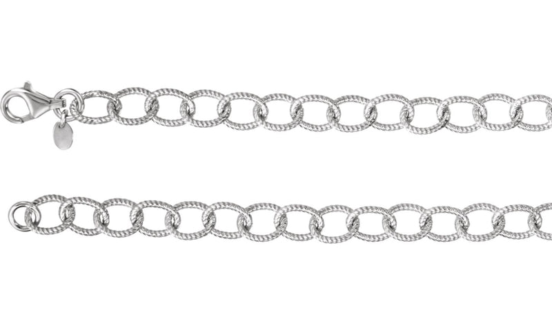 "Sterling Silver Knurled Cable 18"" Chain"