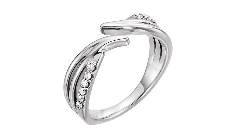 14K White 1/8 CTW Diamond Bypass Ring