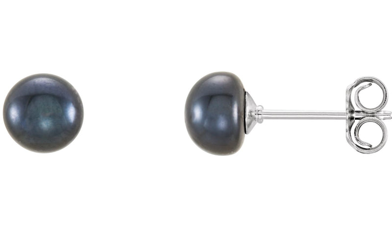 Sterling Silver 5-6 mm Black Freshwater Cultured Pearl Earrings
