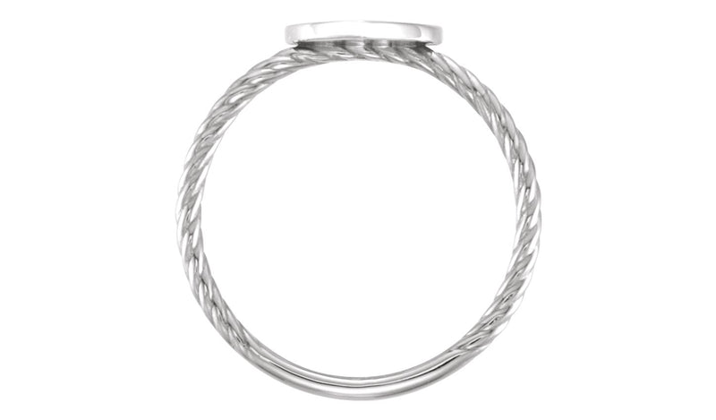 14K White Heart Engravable Rope Ring