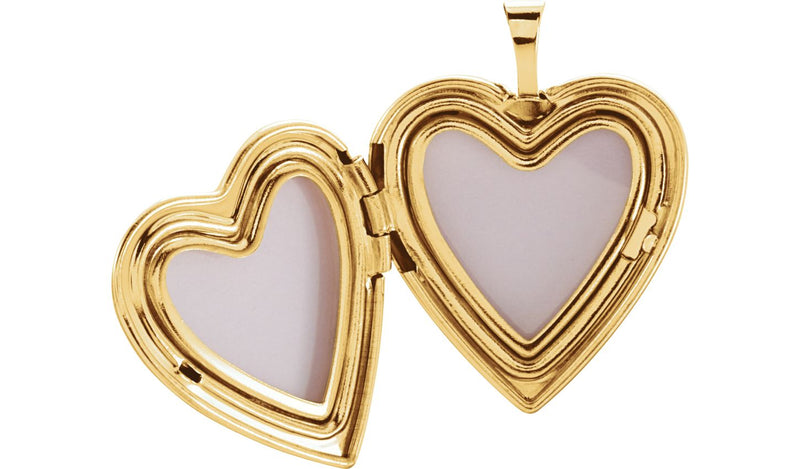 14K Yellow 20.75x19.25 mm Child & Mother Heart Locket