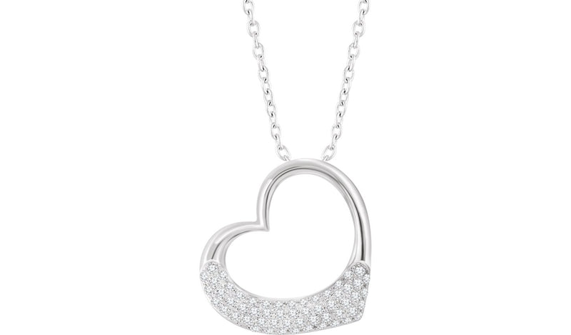 "14K White 1/5 CTW Diamond Heart 16-18"" Necklace - THE LUSTRO HUT"