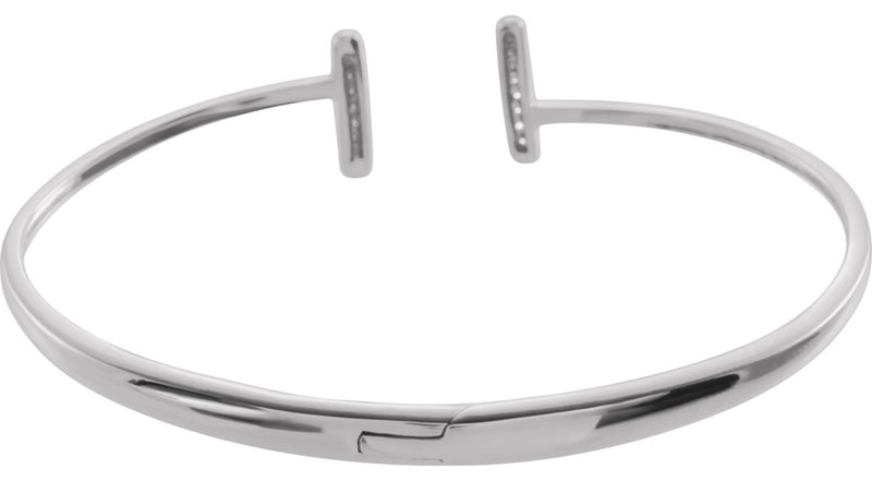 14K White Gold 1/6 CTW Diamond Bar Hinged Cuff Bracelet
