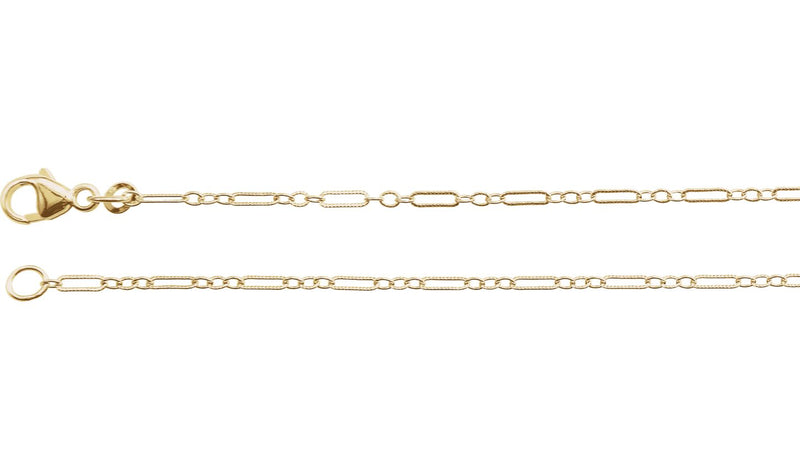 "14K Yellow 1.6 mm Knurled Figaro 16"" Chain with Lobster Clasp"