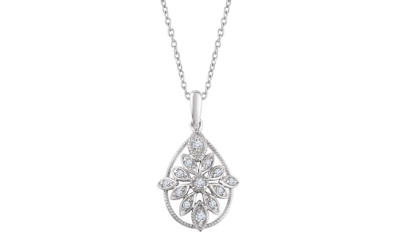 "14K White 1/6 CTW Diamond Granulated Filigree 18"" Necklace"