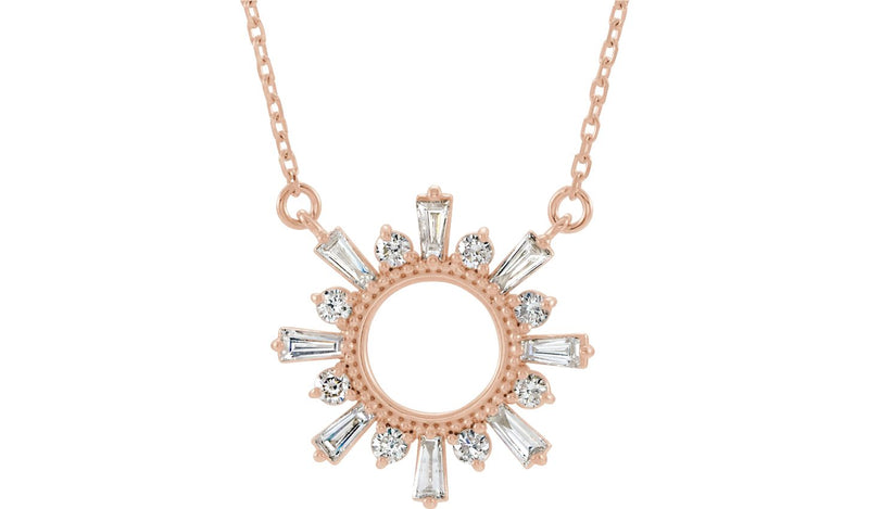 "14K Rose 1/2 CTW Diamond Circle 18"" Necklace - THE LUSTRO HUT"