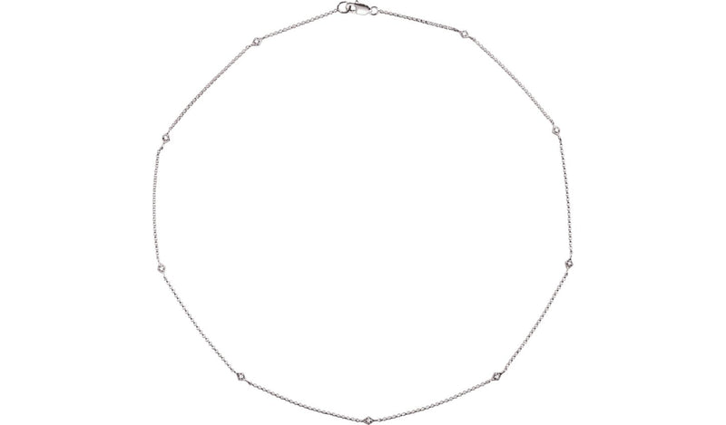 "14K White 1/6 CTW Diamond 18"" Station Necklace - THE LUSTRO HUT"
