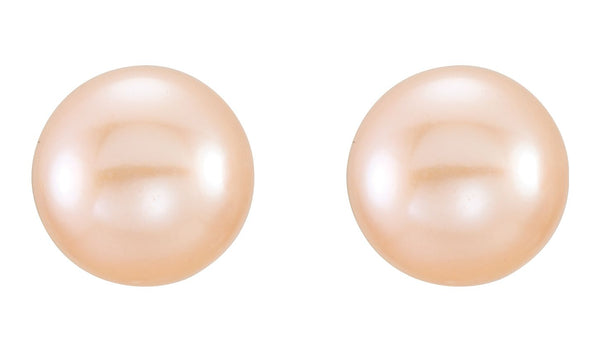 14K Yellow 6-7 mm Pink Freshwater Cultured Pearl Earrings