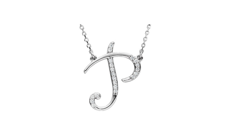 "14K White Letter ""P"" 1/10 CTW Diamond Initial 17"" Necklace"