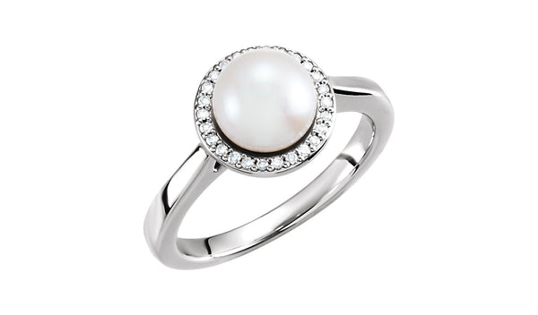 14K White Freshwater Cultured Pearl & .07 CTW Diamond Halo-Style Ring