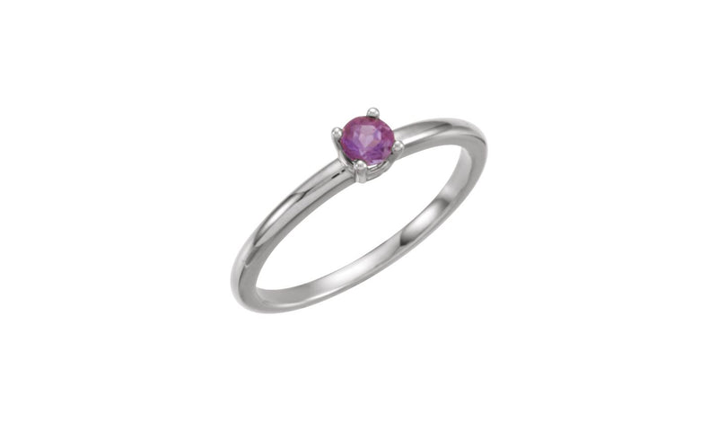 "Sterling Silver Imitation Amethyst ""February"" Youth Birthstone Ring"
