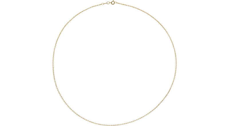 "10K Yellow Gold 1 mm Diamond Cut Cable 20"" Chain"