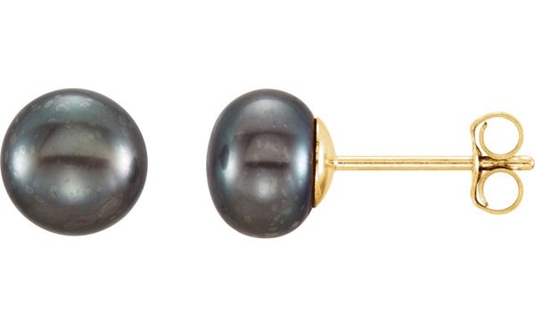 14K Yellow 6-7 mm Black Freshwater Cultured Pearl Earrings