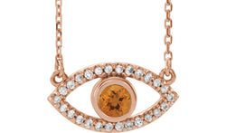 "14K Rose Citrine & White Sapphire Evil Eye 18"" Necklace"