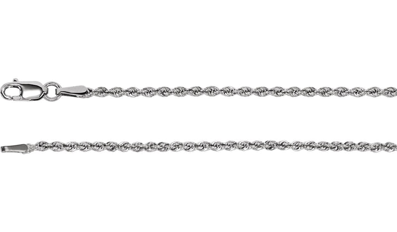 "Sterling Silver 1.85 mm 24"" Rope Chain with Lobster Clasp"