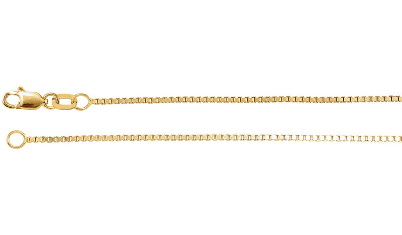 "14K Yellow 1 mm Box 18"" Chain"