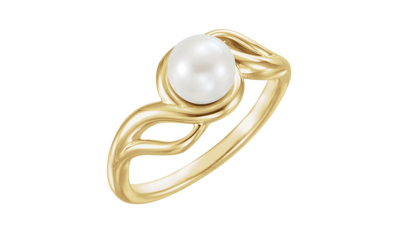 14K Yellow Freshwater Cultured Pearl Ring - THE LUSTRO HUT