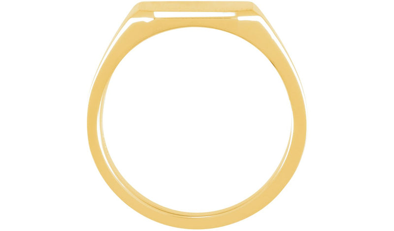 10K Yellow 14 mm Men's Solid Signet Ring
