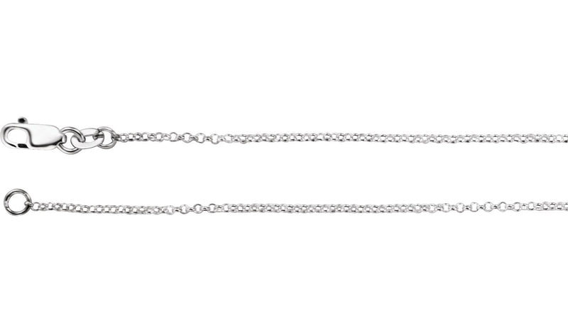 "Sterling Silver 1.3 mm Rolo 24"" Chain"