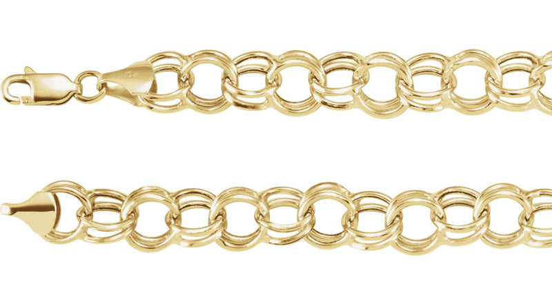 "14K Yellow Gold 5.7 mm Double Link Charm 8"" Bracelet"