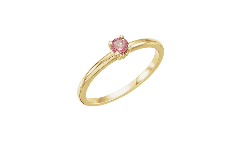 "14K Yellow Imitation Pink Tourmaline ""October"" Youth Birthstone Ring - THE LUSTRO HUT"