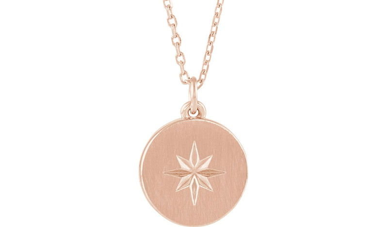 "14K Rose Starburst Disc 16-18"" Necklace"