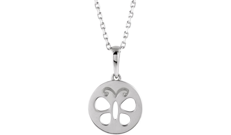 "14K White Youth Butterfly Disc 15"" Necklace"