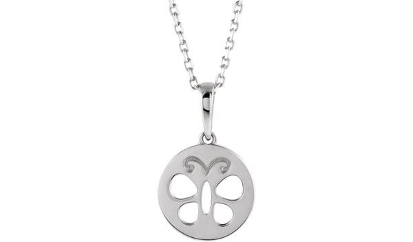 "Sterling Silver Youth Butterfly Disc 15"" Necklace"