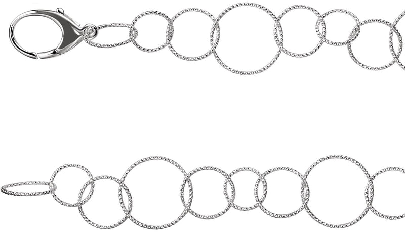 "Sterling Silver Twisted Link 7.5"" Chain"