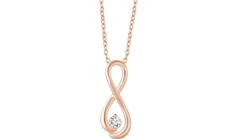 "14K Rose 1/6 CTW Diamond Infinity-Inspired 16-18"" Necklace"