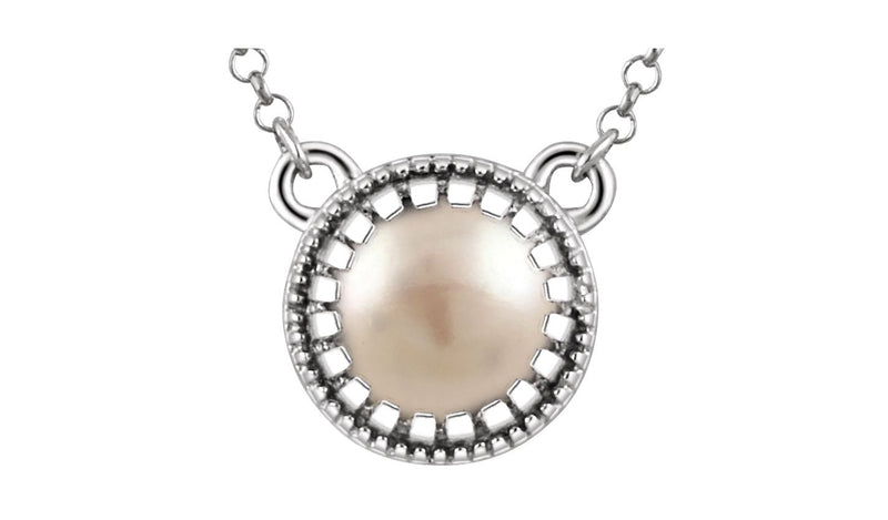 "14K White Freshwater Cultured Pearl ""June"" 18"" Birthstone Necklace"
