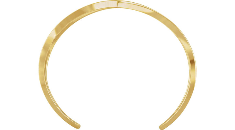 "14K Yellow Gold Criss-Cross Cuff 7"" Bracelet"
