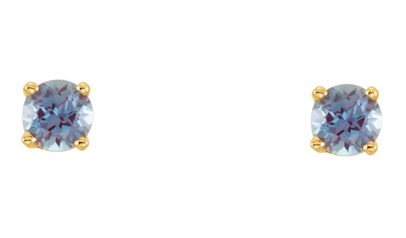 14K Yellow Chatham® Lab-Created Alexandrite Earrings